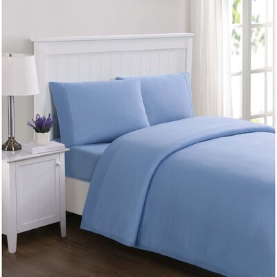 Englewood Solid Sheet Set Size: Twin, Color: Blue