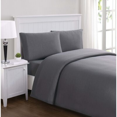 Englewood Solid Sheet Set Size: Twin XL, Color: Charcoal