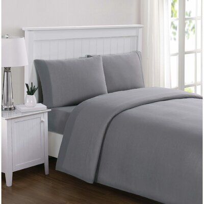 Englewood Solid Sheet Set Size: Twin XL, Color: Gray