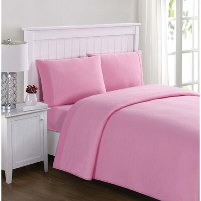 Englewood Solid Sheet Set Size: Full, Color: Pink