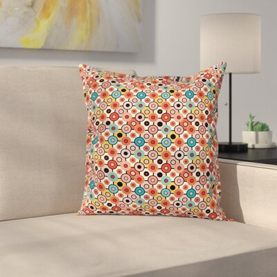 Vintage Retro Style Bubbles Square Pillow Cover Size: 18 x 18