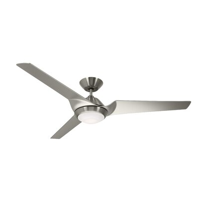 60 Straus Sweep Eco 3 Blade LED Ceiling Fan Finish: Brushed Steel with Silver Blades