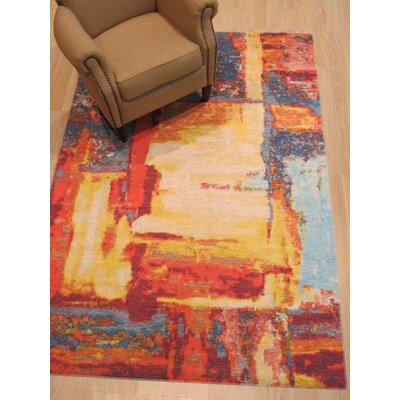Pepin Distressed Red Area Rug Rug Size: Rectangle 44 x 63