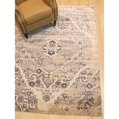 Lecuyer Medallion Distressed Ivory/Gray Area Rug Rug Size: Rectangle 53 x 73