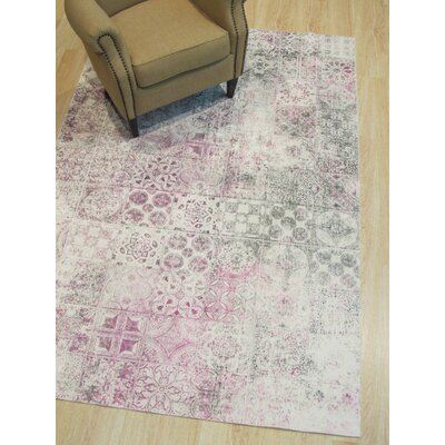 Phares Mosaic Distressed Gray/Pink Area Rug Rug Size: Rectangle 53 x 76