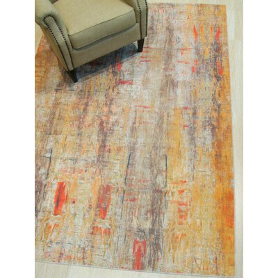 Pepin Distressed Gold/Gray Area Rug Rug Size: Rectangle 53 x 76