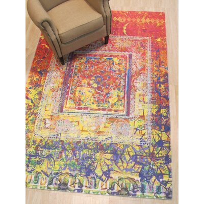 Pepin Distressed Red/Yellow Area Rug Rug Size: Rectangle 53 x 76