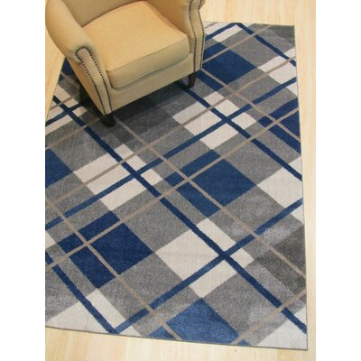 Matsumura Modern Blue/Gray Area Rug Rug Size: Rectangle 53 x 73