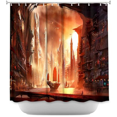 Future Harbor Sailing Shower Curtain
