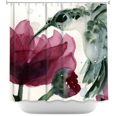 Groover Peonies and Hummingbirds Shower Curtain