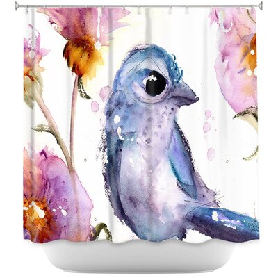 Scrub Jay in Wildflowers Shower Curtain