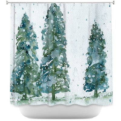 Celentano Three Snowy Spruce Trees Shower Curtain