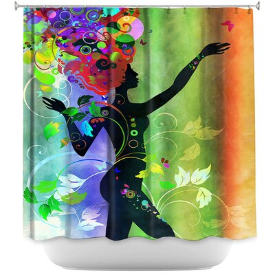 Wondrous Rainbow 3 Shower Curtain Color: Green/Orange