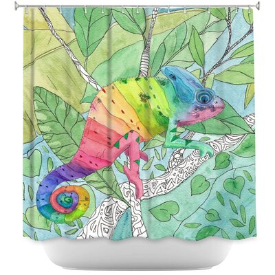 Rainbow Chameleon Shower Curtain
