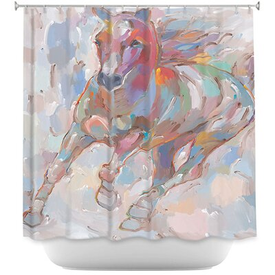 Taking the Turn Horses Shower Curtain