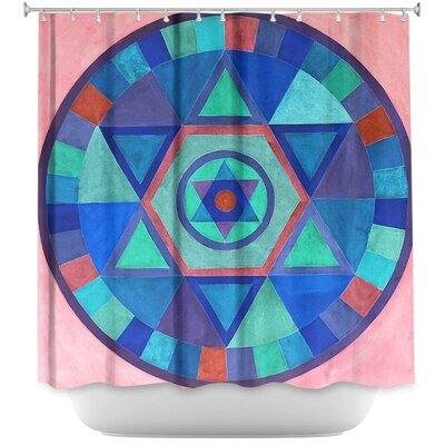 Mandala Shower Curtain Color: Blue/White