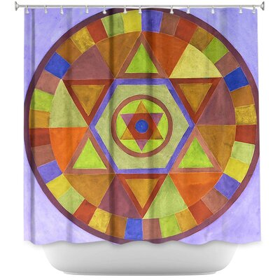 Mandala Shower Curtain Color: Pink/White
