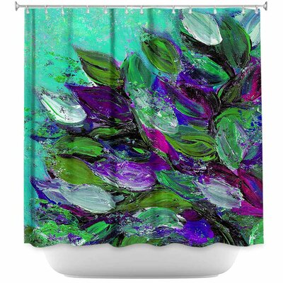 Blooming Beautiful I Shower Curtain Color: Red/Blue