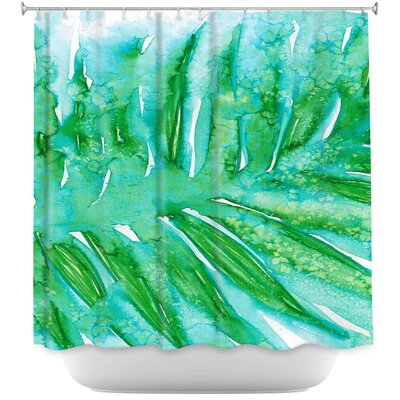 Paradise Palm Shower Curtain Color: Red/Blue