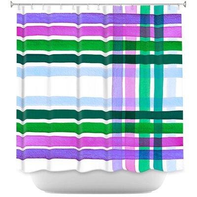 Plaid Stripes II Shower Curtain Color: Blue