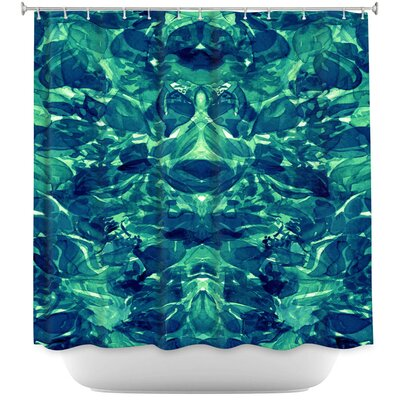 Enchanted Forest VI Shower Curtain Color: Blue/White