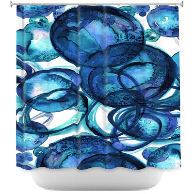 Worlds Collide Shower Curtain Color: Red/Blue