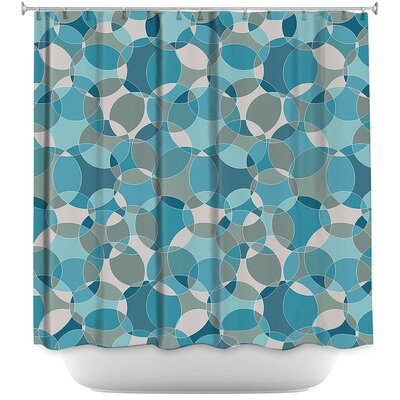 Bubbles Shower Curtain Color: Blue/White