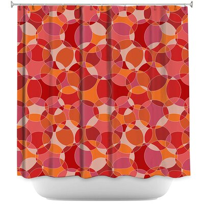 Bubbles Shower Curtain Color: Red/White