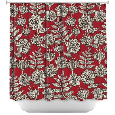 Kenia 1 Shower Curtain Color: Red/Gray