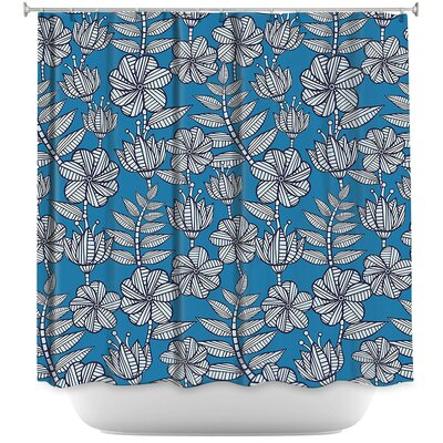 Kenia 1 Shower Curtain Color: Blue/Gray
