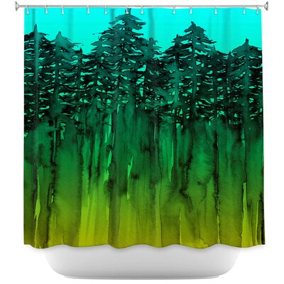 Celentano Forest Trees Lime Shower Curtain Color: Blue/Gray