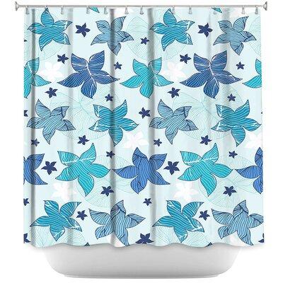 Dreyer Flowers Shower Curtain Color: Blue/White