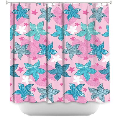 Dreyer Flowers Shower Curtain Color: Pink/Blue