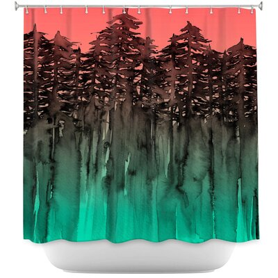 Celentano Forest Trees Lime Shower Curtain Color: Pink/Blue
