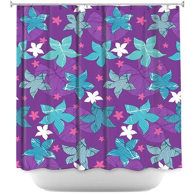 Dreyer Flowers Shower Curtain Color: Purple/Blue