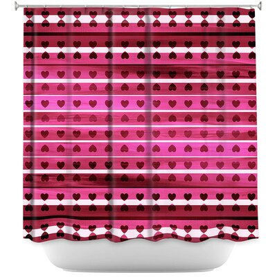 Heart Love Shower Curtain Color: Purple/Blue