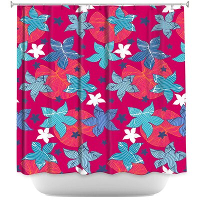 Dreyer Flowers Shower Curtain Color: Red/Blue