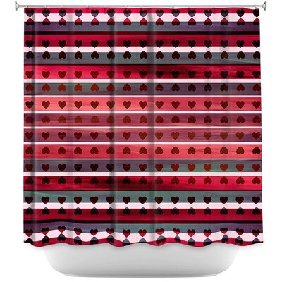 Heart Love Shower Curtain Color: Red