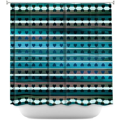 Heart Love Shower Curtain Color: Blue