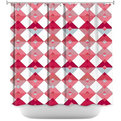 Triangles Pale Shower Curtain Color: Pink/White