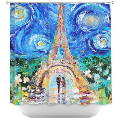 Eiffel Tower Starry Night Shower Curtain
