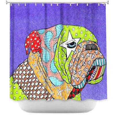 English Bulldog Shower Curtain Color: Blue