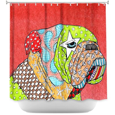 English Bulldog Shower Curtain Color: Red