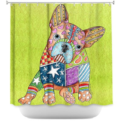 French Bulldog Shower Curtain Color: Purple/Gray