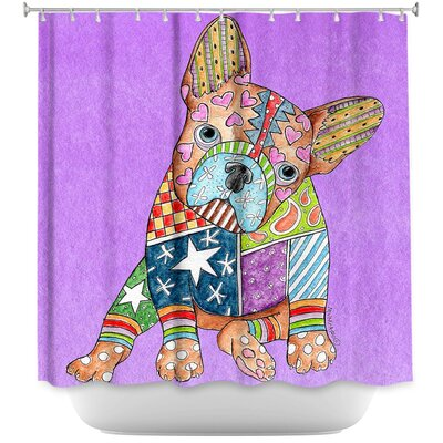 French Bulldog Shower Curtain Color: Red/Blue
