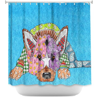 German Shepherd Dog Shower Curtain Color: Blue