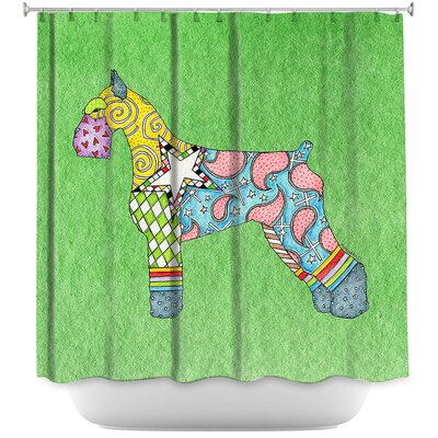 Giant Schnauzer Shower Curtain Color: Red/Blue