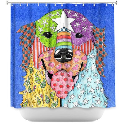 Golden Retriever Dog Shower Curtain Color: Purple/Yellow