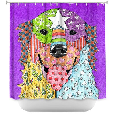 Golden Retriever Dog Shower Curtain Color: Purple