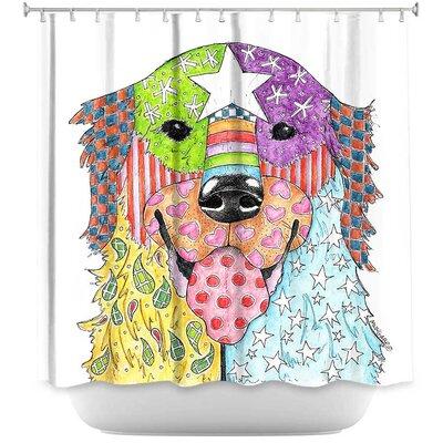 Golden Retriever Dog Shower Curtain Color: White